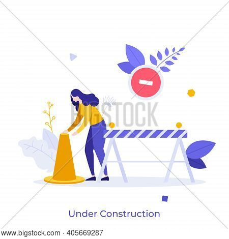 Woman With Traffic Cone, Road Safety Barrier. Concept Of Website Under Construction, Error 404, Rest