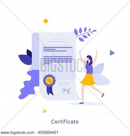 Woman And Document With Wafer Seal And Ribbon. Diploma Or Certificate Of Honor, Merit, Appreciation,