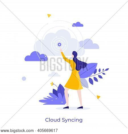 Woman Pointing At Signal Source. Concept Of Cloud Syncing, Online Data Synchronization, Internet Ser