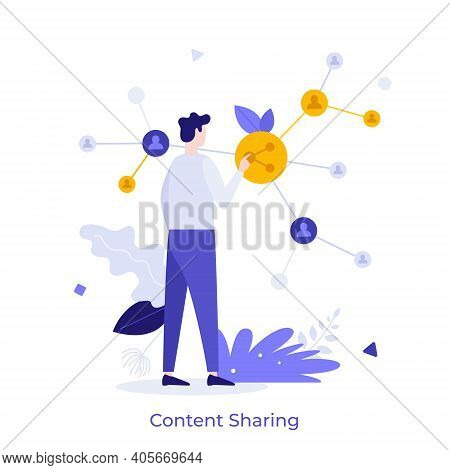 Man Touching Network Structure. Concept Of Online Or Digital Content Sharing, Social Media Activity,