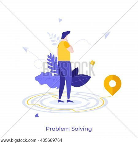 Thoughtful Man Standing In Maze And Searching For Exit. Concept Of Problem Solving, Business Thinkin