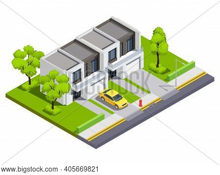 Suburban Buildings Isometric Vector Illustration With Private Townhouse For Two Family With Isolated