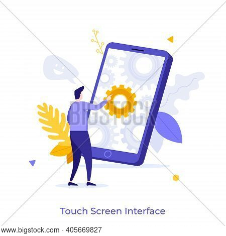 Man Touching Smartphone Or Cellphone With Gear Wheels On Screen. Concept Of Touchscreen Interface Fo