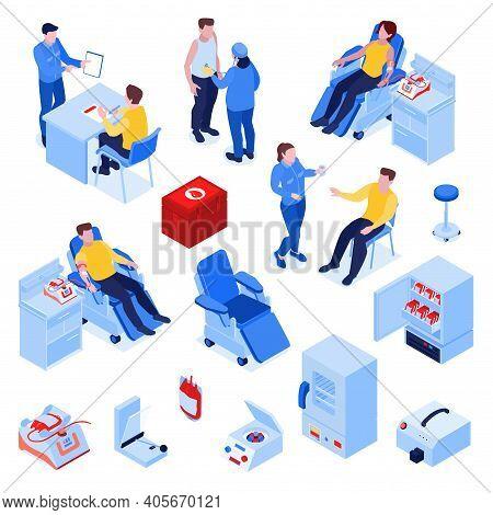 Blood Donation Isometric Set Nurse Screening Instructing Donors Kit Collection Monitor Storage Refri