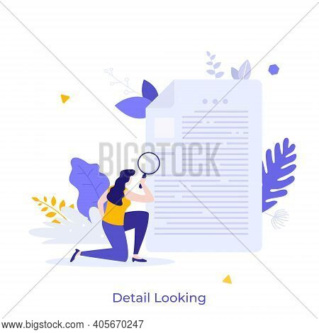 Woan Holding Magnifying Glass And Examining Document. Concept Of Business Analysis, Audit, Professio