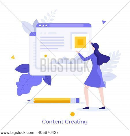 Woman Adding Information On Website. Concept Of Digital Content Creation And Management, Internet Pu
