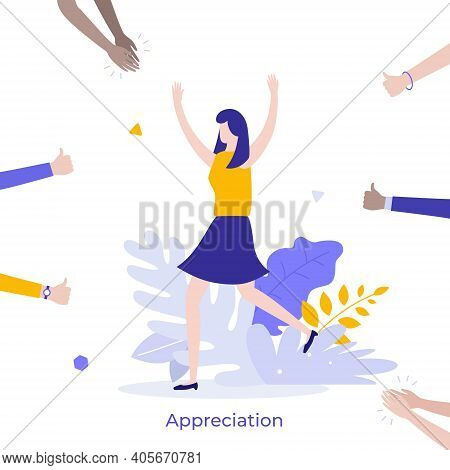 Happy Woman Surrounded By Clapping Hands Of Applauding People. Concept Of Social Success, Public App