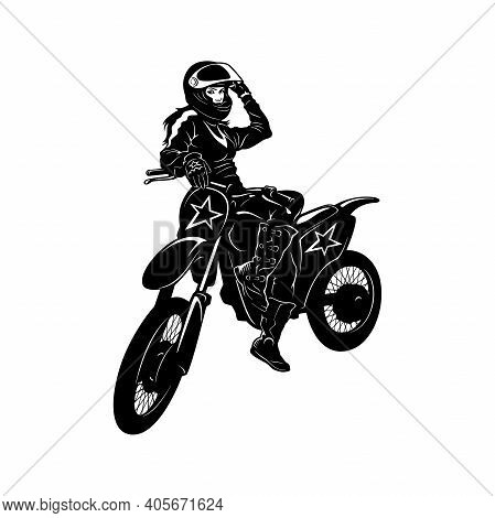 Sexy Girl And Motocross Motorcycle - Enduro, Freestyle - Motocross Extreme Sport, Freestyle Girl - C