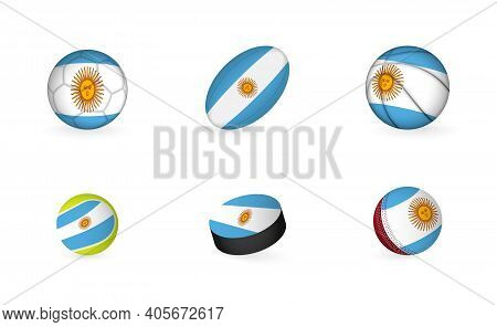 Sports Equipment With Flag Of Argentina. Sports Icon Set.