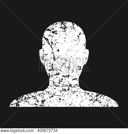 Human Head Shape Vector Icon. Grunge Texture. Person Profile Silhouette Sign. Anonymous Face User Sy