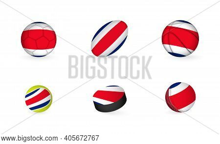Sports Equipment With Flag Of Costa Rica. Sports Icon Set.