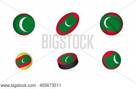 Sports Equipment With Flag Of Maldives. Sports Icon Set Of Football, Rugby, Basketball, Tennis, Hock