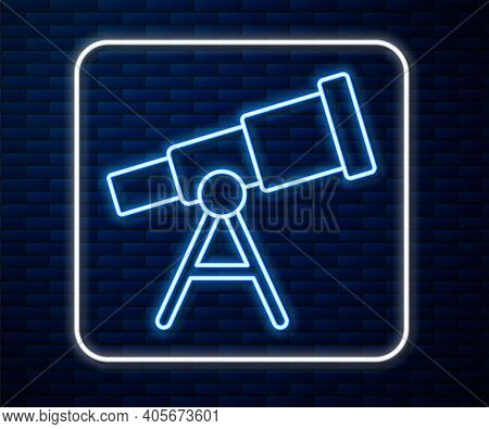Glowing Neon Line Telescope Icon Isolated On Brick Wall Background. Scientific Tool. Education And A