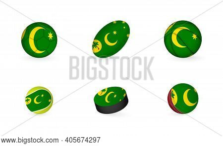 Sports Equipment With Flag Of Cocos Islands. Sports Icon Set Of Football, Rugby, Basketball, Tennis,