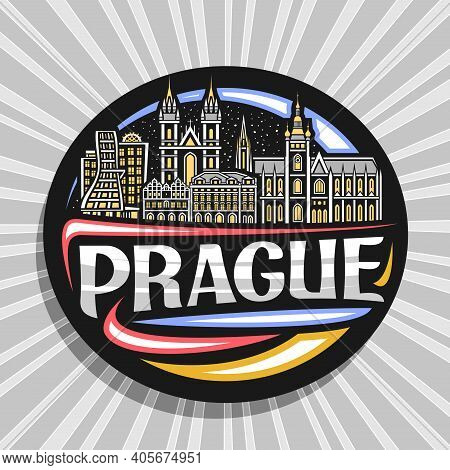 Vector Logo For Prague, Black Decorative Badge With Outline Illustration Of Historic Prague City Sca