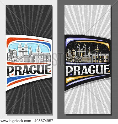 Vector Vertical Layouts For Prague, Decorative Flyers With Illustration Of Historical Prague City Sc