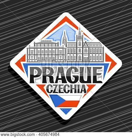 Vector Logo For Prague, White Rhombus Road Sign With Outline Illustration Of Prague City Scape On Da