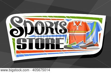 Vector Logo For Sports Store, White Decorative Sign Board For Sporting Goods Shop With Illustration
