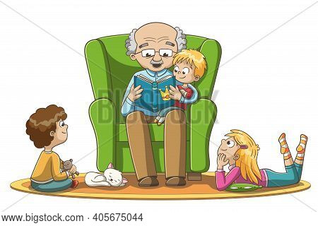 A Grandfather Reads Fairy Tales To Children. Hand Drawn Vector Illustration With Separate Layers.