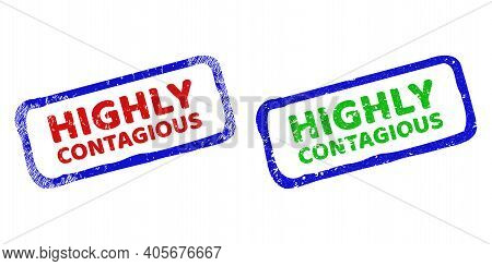 Vector Highly Contagious Framed Watermarks With Corroded Style. Rough Bicolor Rectangle Watermarks.