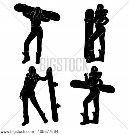 Girl With A Snowboard In His Hands. Women's Snowboard. Black And White Isolated Vector Illustration