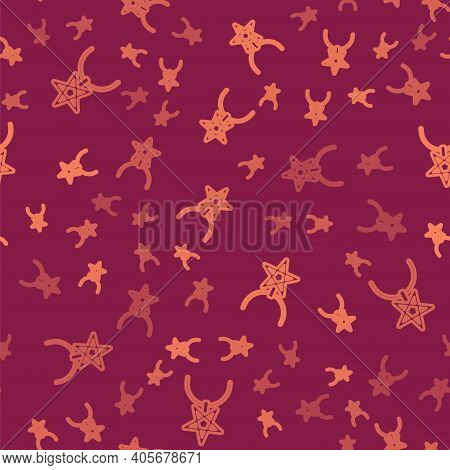 Brown Line Pentagram On Necklace Icon Isolated Seamless Pattern On Red Background. Magic Occult Star