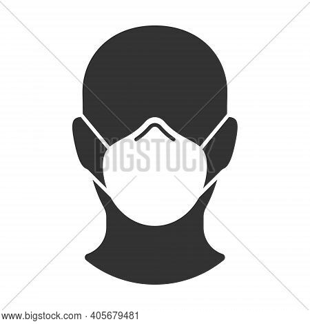 Face mask vector sign. Human avatar portrait. Head silhouette. Protective medical and industry n95 mask. Covid-19 social distancing and safety measures symbol. Coronavirus pandemic icon.