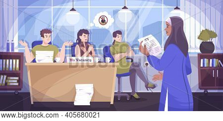 Social Justice Religion Flat Composition The Opportunity To Work In Prestigious Company For A Person