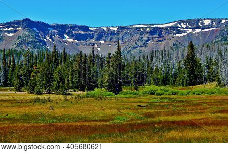 Rim Above The Meadow - A View Of Tam Mcarthur Rim At Three Creek Meadow Campground - Cascade Range -