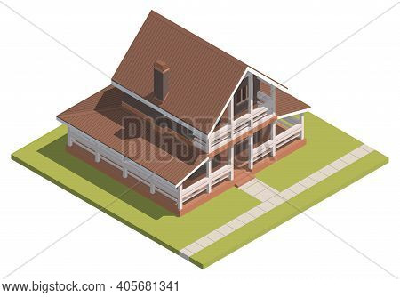 Suburban House Isometry. Hyper Detailing Isometric View Of A Isolated House With A Brown Roof. 3d Fa