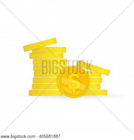 Coins Stock Vector Illustration In Flat Style. Coins Pile, Coins Money, One Golden Coin Standing Bef