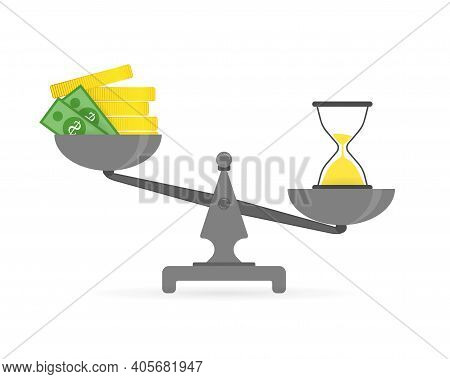 Concept Of Time And Money. Time Is More Valuable Than Money. Time Is Money On Scales Icon On A White