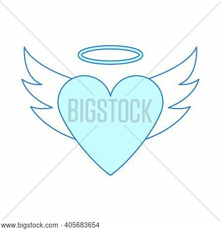 Valentine Heart With Wings And Halo Icon. Thin Line With Blue Fill Design. Vector Illustration.