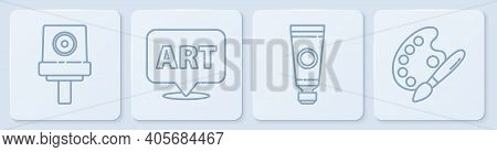 Set Line Spray Can Nozzle Cap, Tube With Paint Palette, Speech Bubble With Text Art And Paint Brush