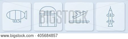 Set Line Airship, Plane Takeoff, Aircraft Hangar And Rocket. White Square Button. Vector
