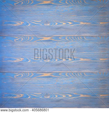 Vintage Wooden Background Close Up. Board Is Wooden Shabby And Painted Blue Or Turquoise