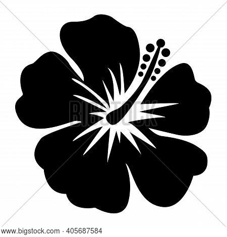 Hibiscus Icon On White Background. Hibiscus Flower Sign. Black Hibiscus Flower Symbol. Flat Style.