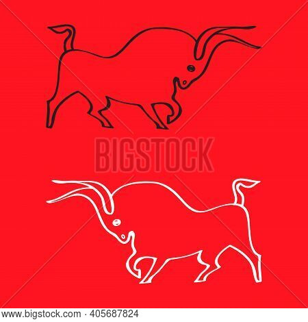 Two Dynamic Bulls Outlines On Red Background. Side View. Hand Drawing. Black And White Buffaloes. Fa