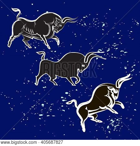 Three Black And White Bulls On Dark Sky Background. Black Silhouettes And White Outlines. Bison Isol