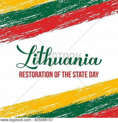 Lithuania Restoration Of The State Day Typography Poster. Lithuanian Holiday Celebrate On February 1