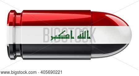 Bullet With Iraqi Flag, 3d Rendering Isolated On White Background