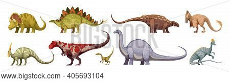 Carnivores And Herbivores Giants And Small Animals Dinosaurs Colored Cartoon Set Isolated On White B