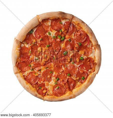 Pepperoni Pizza With Sweet Pepper Isolate On A White Background.