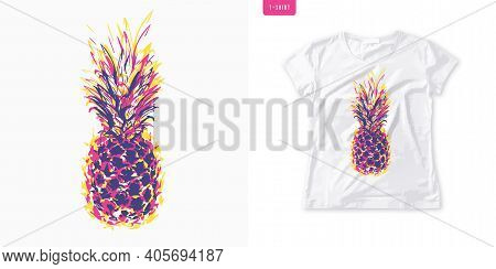 Summer Graphic Womens Tee With Pineapple, Stylish Print, Vector Illustration.
