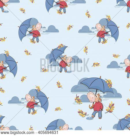 Fall Rain. Funny Calf Walking In The Rain. Rainy Time. Autumn Month. Cute Bull With Umbrella