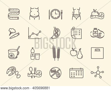 Nutritionist Outline Icons Set. Dieting, Food, Fit Body And Other Signs And Symbols. Pictograms For