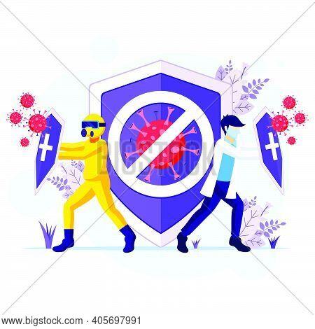 Fight The Virus Concept, Doctor And Nurses Fighting Covid-19 Coronavirus Illustration
