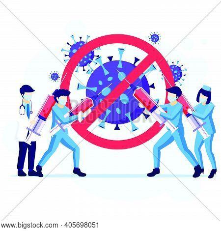 People Fight The Virus Concept, Doctor And Nurses Use Weapon To Fighting Covid-19 Coronavirus Illust