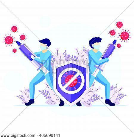 Fight The Virus Concept, Doctor And Nurses Use Syringe To Fighting Covid-19 Coronavirus Illustration