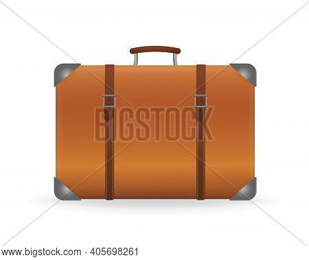Vintage 3d Illustration With Suitcase On White Background. Retro Suitcase, Great Design For Any Purp